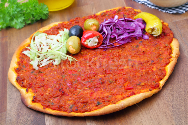 Lahmacun - pizza turkish style Stock photo © vertmedia