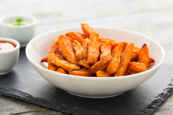 Foto stock: Batata · papas · fritas · servido · tazón · grasa · blanco