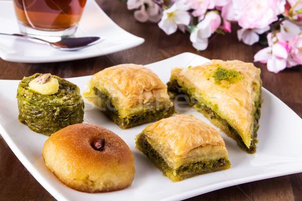 Türk şekerleme geleneksel pasta çay beyaz Stok fotoğraf © vertmedia