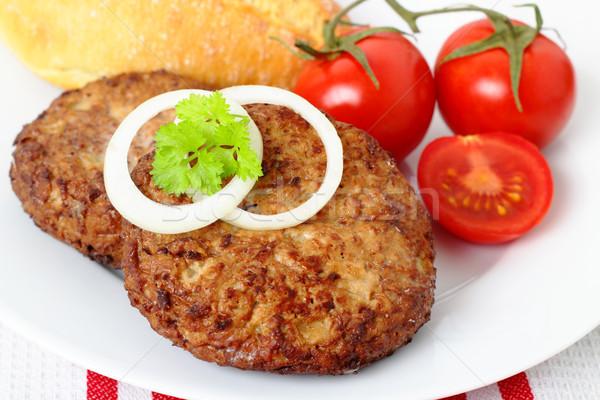 Befsztyk grillowany pomidory świeże bagietka Zdjęcia stock © vertmedia