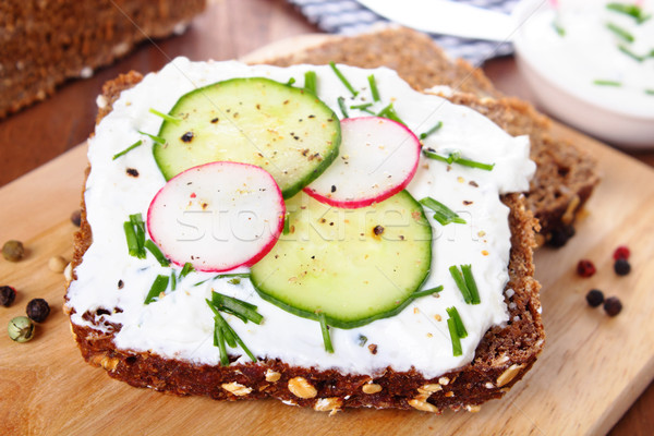 Bread with curd and herbs Stock photo © vertmedia