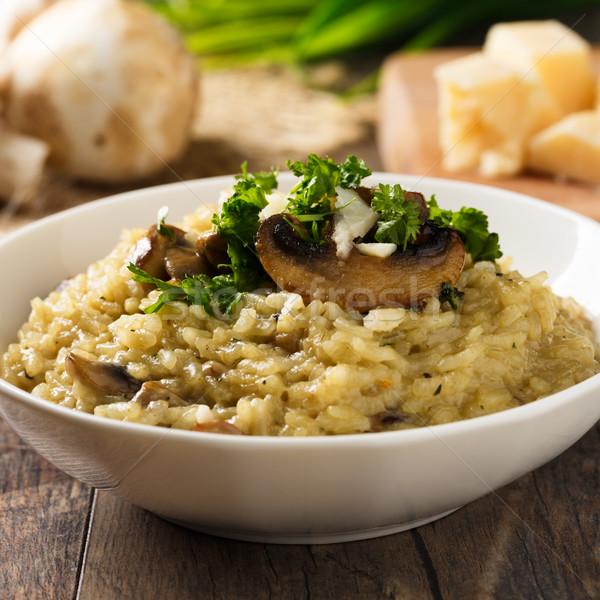 Rizottó gombák friss gyógynövények parmezán sajt sajt Stock fotó © vertmedia