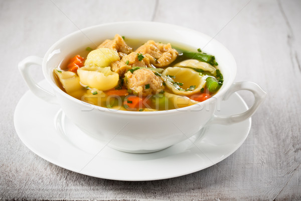 vegan noodle soup with soy chunks  Stock photo © vertmedia