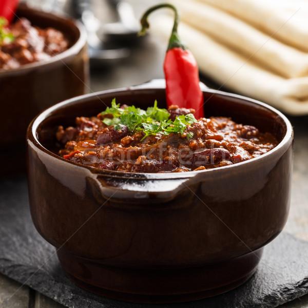 Chili грех тушеное мясо бобов соя мяса Сток-фото © vertmedia