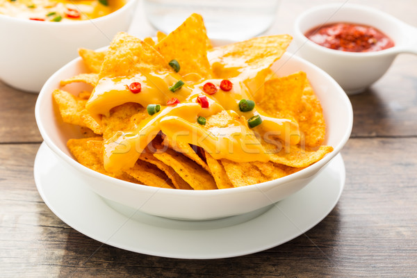tortilla chips with cheese and chilis Stock photo © vertmedia