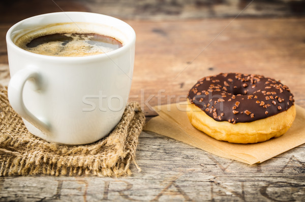 donut with nut-chocolate topping and coffee Stock photo © vertmedia