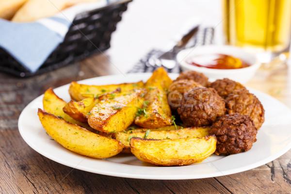 Batata almôndegas ervas jantar carne Foto stock © vertmedia
