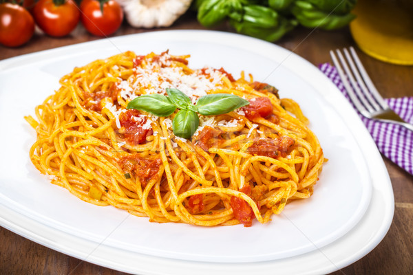 Foto stock: Espaguete · molho · de · tomate · comida · cozinha · Óleo