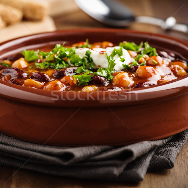 Veggie chili with chick peas and beans Stock photo © vertmedia
