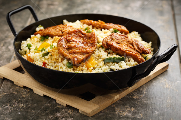 Cous cous with veggies and soy medaillons Stock photo © vertmedia