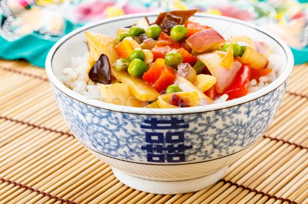 Rizs édes fanyar zöldségek kínai edények Stock fotó © vertmedia