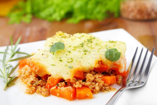 Pie mięsa warzyw obiedzie gotowania marchew Zdjęcia stock © vertmedia