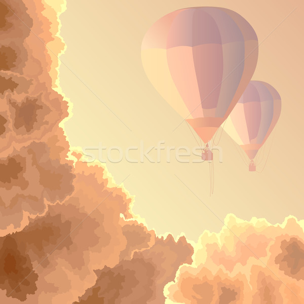 Two air balloons, sky and clouds. Stock photo © Vertyr