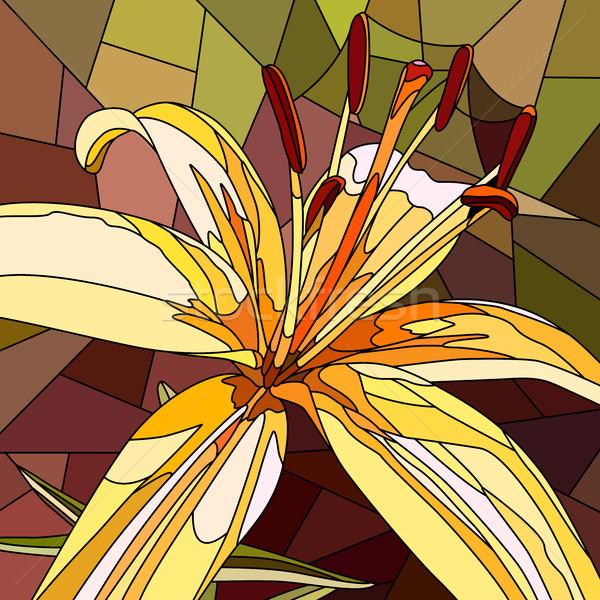 Flor amarelo lírio vetor mosaico grande Foto stock © Vertyr