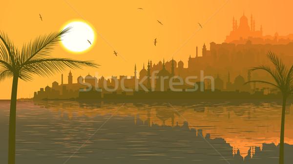 Ilustração grande Árabe cidade mar pôr do sol Foto stock © Vertyr