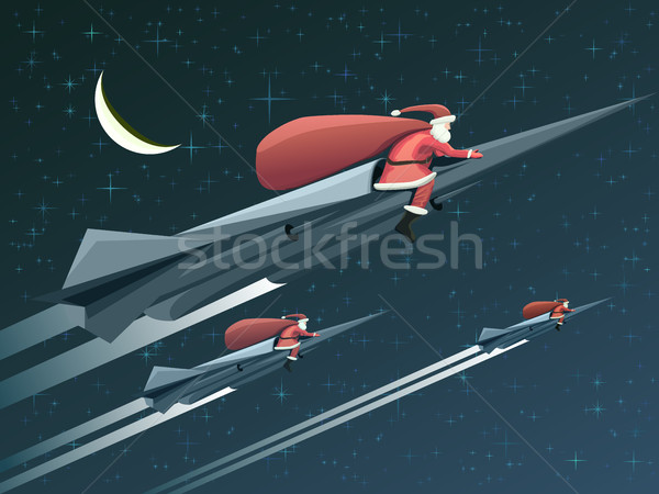 Christmas card with Santa Claus on rockets at night. Stock photo © Vertyr