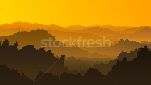 Horizontal ilustração pôr do sol montanhas vetor laranja Foto stock © Vertyr