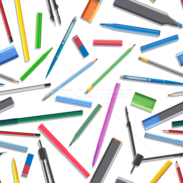 シームレス セット 異なる ペン 鉛筆 オフィス ストックフォト © Vertyr