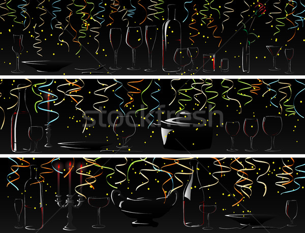Vetor bandeira jantar luz de velas brilhante confete Foto stock © Vertyr