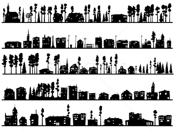 Horizontal childish silhouettes of built, home and trees. Stock photo © Vertyr