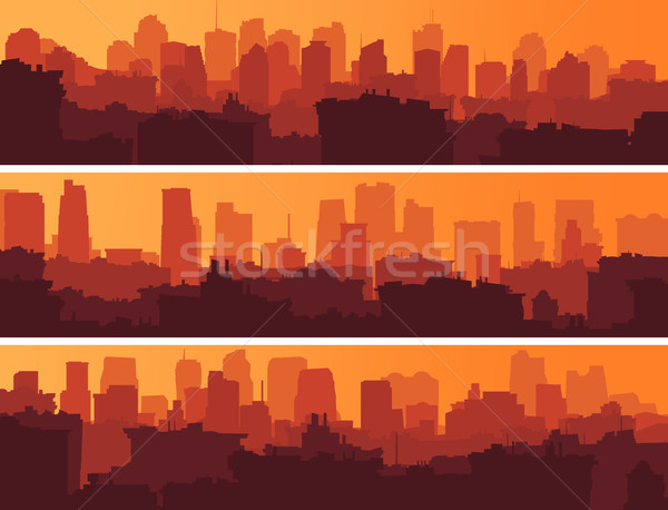 Ingesteld banners groot stad zonsondergang horizontaal Stockfoto © Vertyr