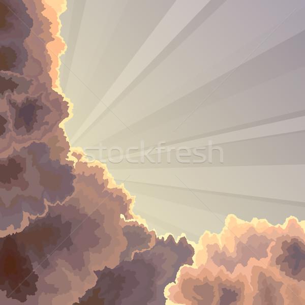 Sun rays, sky and clouds. Stock photo © Vertyr