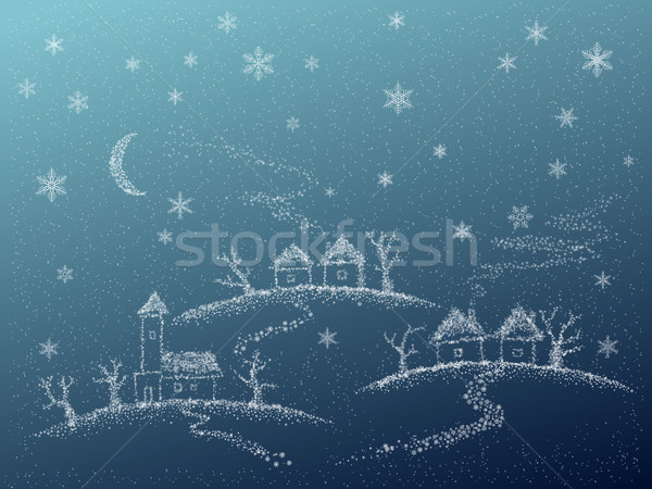Hiver résumé campagne carte scène flocons de neige Photo stock © Vertyr