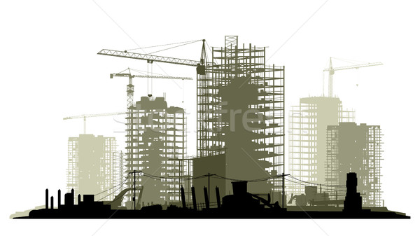 Line illustration of construction site with crane and building. Stock photo © Vertyr