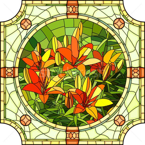 Flor rojo lirios vector mosaico grande Foto stock © Vertyr