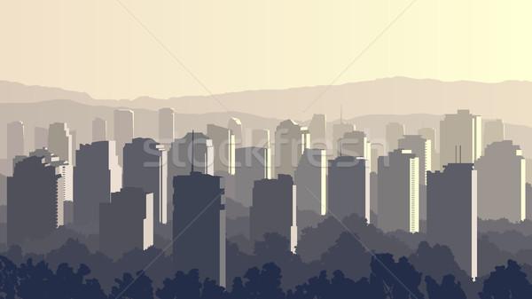 Ilustração grande cidade pôr do sol vetor horizontal Foto stock © Vertyr