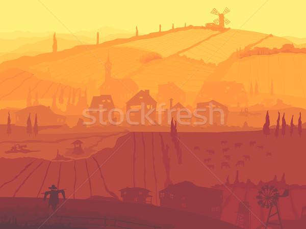 Soyut örnek köy gün batımı vektör ülke Stok fotoğraf © Vertyr