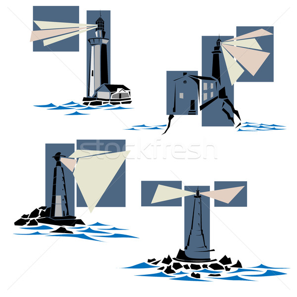 Set of lighthouse icons. Stock photo © Vertyr