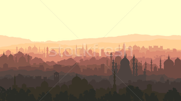 Horizontal illustration of big arab city at sunset. Stock photo © Vertyr