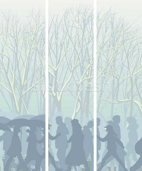 Vertical banners parque personas invierno árboles Foto stock © Vertyr