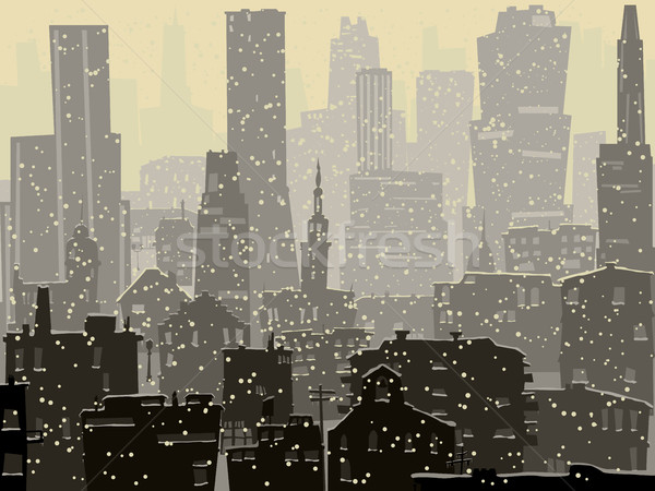 Abstract illustration of big snowy city. Stock photo © Vertyr