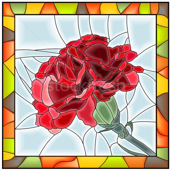 цветок красный гвоздика витраж стекла Сток-фото © Vertyr