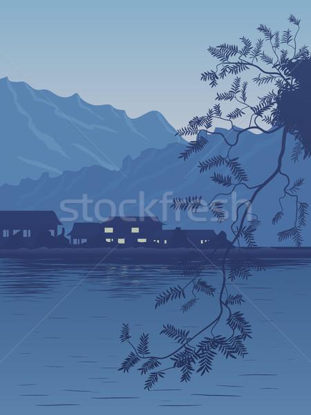 Aldeia banco lago noite escuro azul Foto stock © Vertyr
