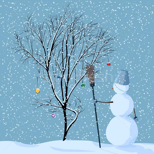 Ilustração solitário boneco de neve árvore neve natal Foto stock © Vertyr
