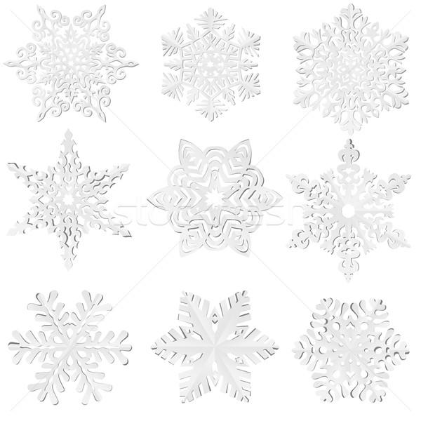 セット 自家製 紙 雪 ベクトル 単純な ストックフォト © Vertyr