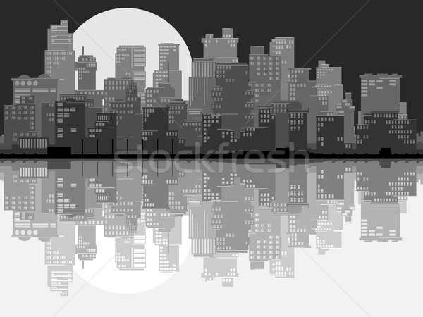 Abstract illustration of big city at night. Stock photo © Vertyr