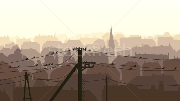 Horizontal ilustración aves poder línea resumen Foto stock © Vertyr