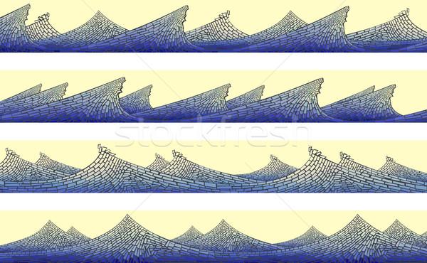 Poziomy banner mozaiki fali piana streszczenie Zdjęcia stock © Vertyr