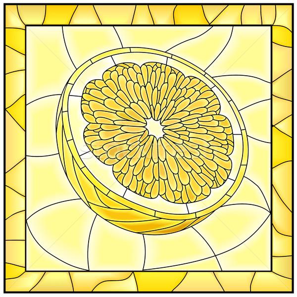 Vector amarillo ilustración frutas limón mitad Foto stock © Vertyr