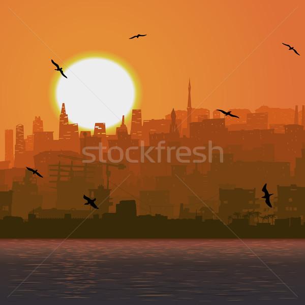 Ilustración grande ciudad mar puesta de sol vector Foto stock © Vertyr