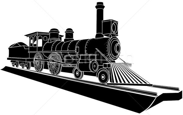 Vektor monokróm illusztráció öreg gőz vonat Stock fotó © Vertyr