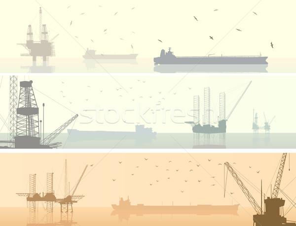 Vízszintes bannerek olajipar absztrakt olaj offshore Stock fotó © Vertyr
