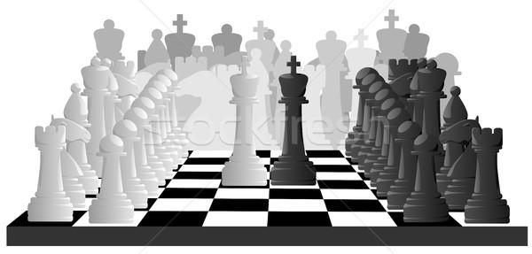 Horizontal illustration of chess game. Stock photo © Vertyr