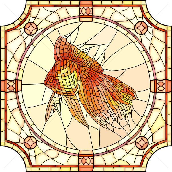 Vector illustration of mosaic gold fish. Stock photo © Vertyr