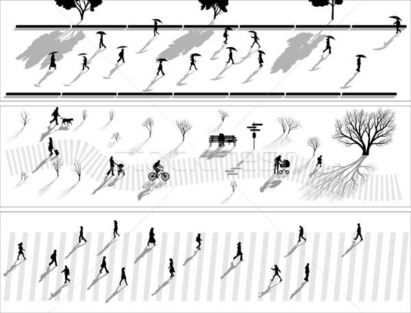 抽象的な バナー 群衆 人 シルエット 影 ストックフォト © Vertyr