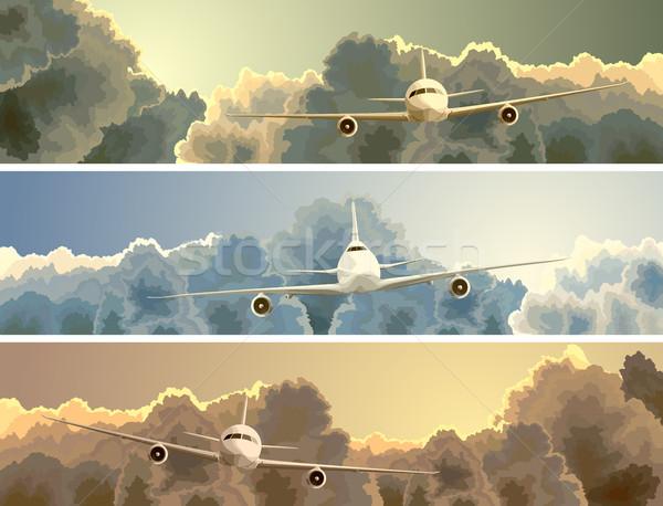 горизонтальный баннер плоскости облака вектора большой Сток-фото © Vertyr